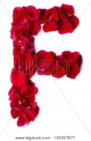Alphabet F Made From Red Rose