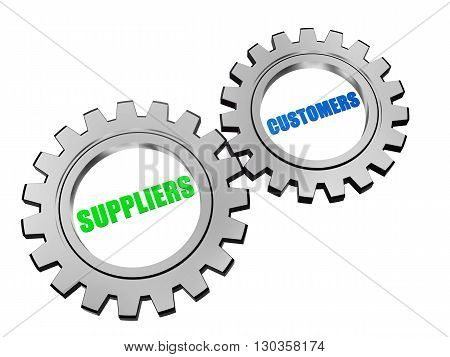 suppliers and customers - text in 3d silver grey metal gear wheels business servicing operate concept words
