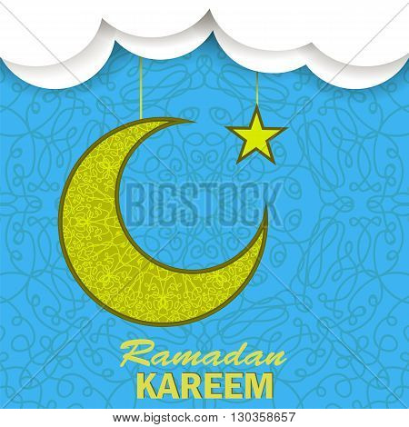 Ramadan Greetings Background. Ramadan Kareem Means Ramadan the Generous Month. Ramadan Greeting Card. Yellow Moon and Yellow Star on Blue Ornamental Background