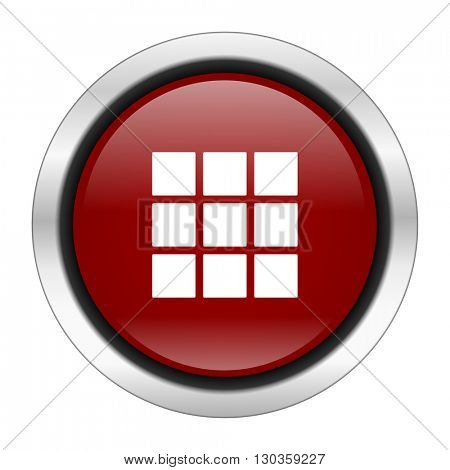 thumbnails grid icon, red round button isolated on white background, web design illustration