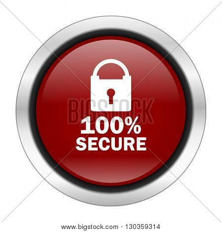 secure icon, red round button isolated on white background, web design illustration