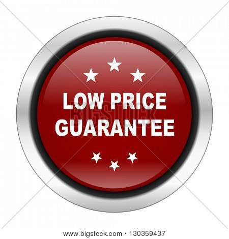 low price guarantee icon, red round button isolated on white background, web design illustration