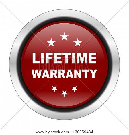 lifetime warranty icon, red round button isolated on white background, web design illustration