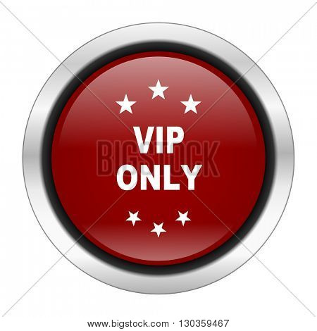vip only icon, red round button isolated on white background, web design illustration