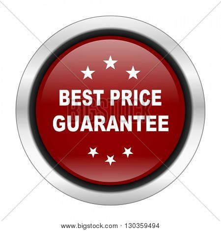 best price guarantee icon, red round button isolated on white background, web design illustration