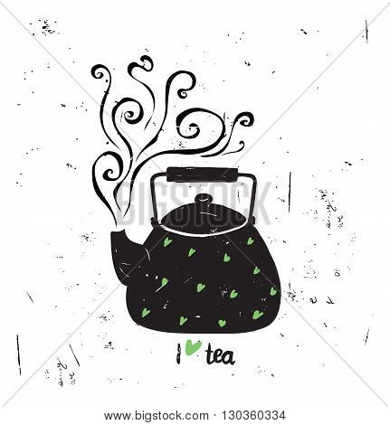 Vector Illustration I Love Tea With Lettering. Black Tea Pot Wit