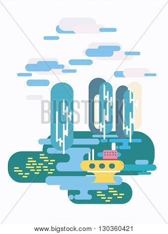 Vector illustration in flat style. Landscape, nature, lake, trees, poplar, ship