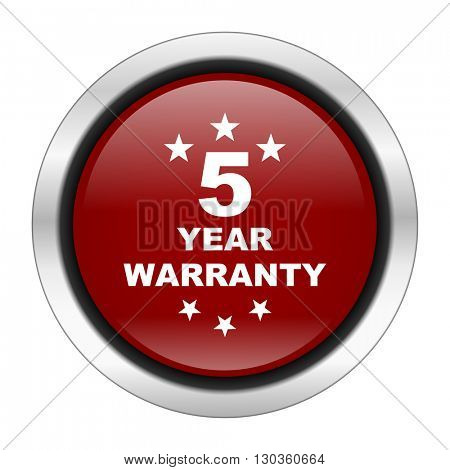 warranty guarantee 5 year icon, red round button isolated on white background, web design illustration