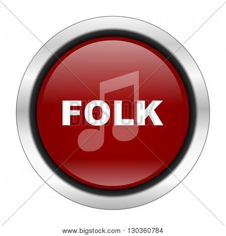 folk music icon, red round button isolated on white background, web design illustration