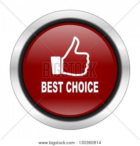 best choice icon, red round button isolated on white background, web design illustration