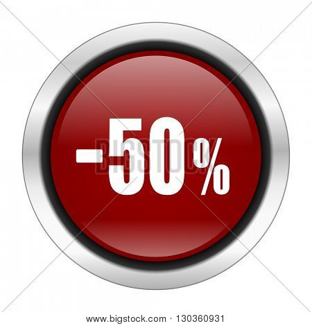 50 percent sale retail icon, red round button isolated on white background, web design illustration