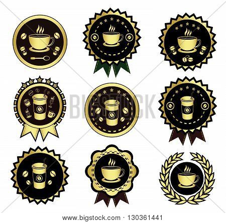 Golden coffee logo set.It's for coffee logo and icon.