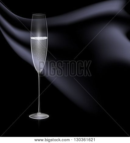 dark background and the glass of wine with black drape