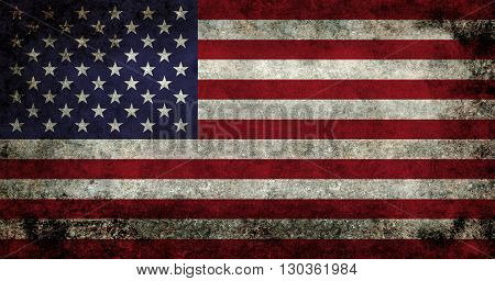 USA flag with vintage retro style distressed patina