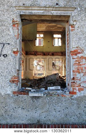 Old Window From Damaged House