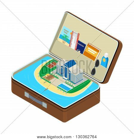 vector illustration. Open the suitcase sea a coastal hotel with a swimming pool a passport a plane ticket sunglasses sunscreen. isometric infographic