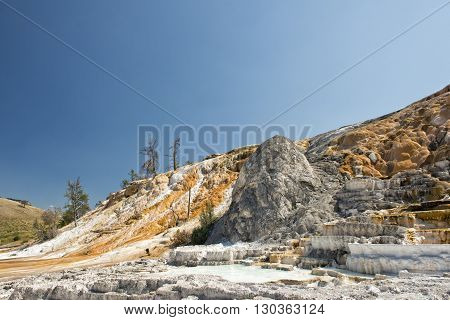 mammoth hot springs in Yellowstone hot spring view  landscape
