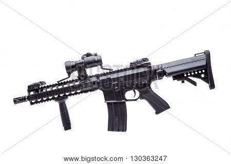 US M16 rifle with optical sight on white background