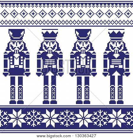 Nutrckrackers seamless Christmas, winter navy pattern on white