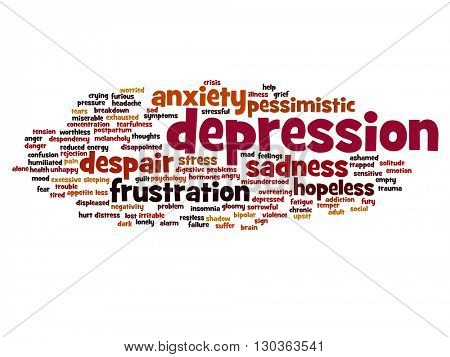 Concept or conceptual depression or mental emotional disorder abstract word cloud isolated on background