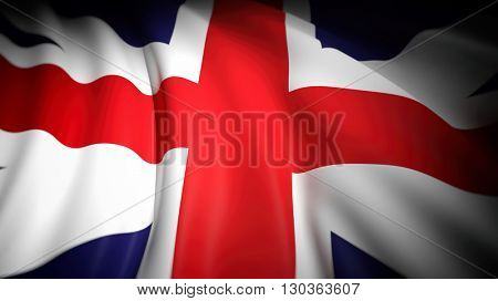 3D rendering, wavy flag of United Kingdom, closeup background
