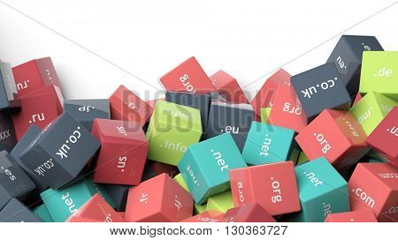 3d rendering, colorful cubes with domain extensions, on white with copy-space