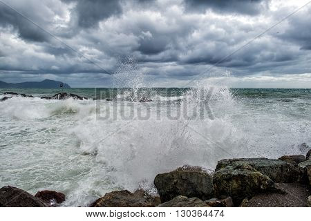 Sea In Tempest On Rocks