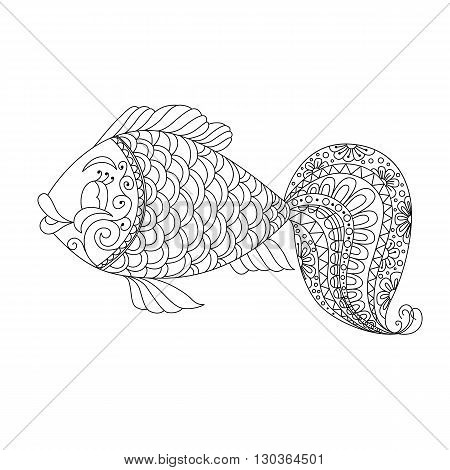 Cute cartoon fish with ornament. Background cover. Design for coloring page