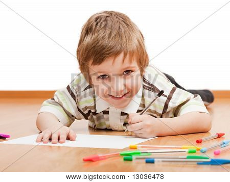 Child Drawing Or Writing