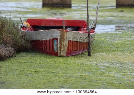 An Old Fishing Boat In Swamp In Sardinia, Italy