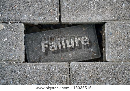 Word Failure written over a hole on the damaged pavement