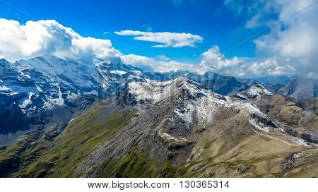 Snowy capped mountains in the Alps looking at Mont Blanc