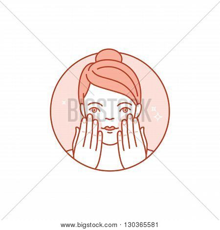 Vector  Linear Icon, Illustration And Infographics Design Element - Skin Care And Cleansing