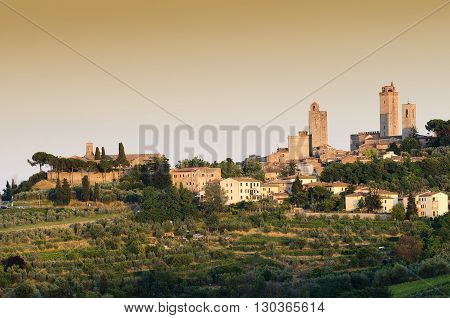 Sunset in San Gimignano medieval Tuscan village italy
