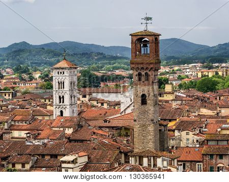 Terracotta rooftops in medieval Lucca in Italy