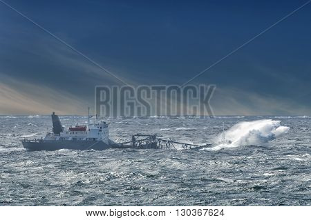 Ship in the storm tempest view landscape