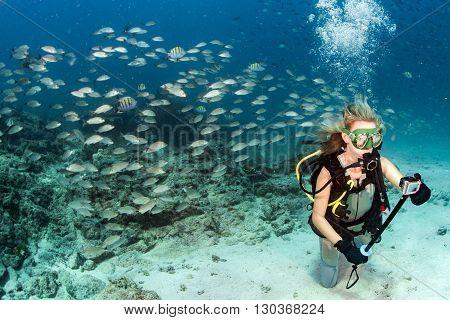 Beauty Blonde Diver Taking A Selfie Underwater