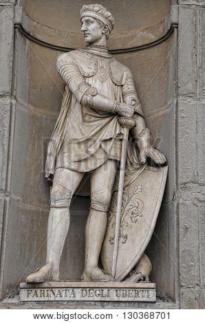 Florence Farinata Degli Uberti Statue Near Ponte Vecchio
