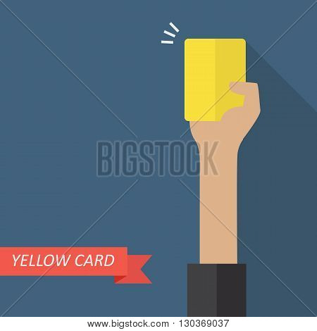 Hand of referee showing yellow card. Vector illustration