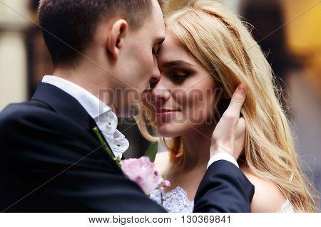 Sensual Romantic Newlywed Couple Hugging In Italian Street Closeup