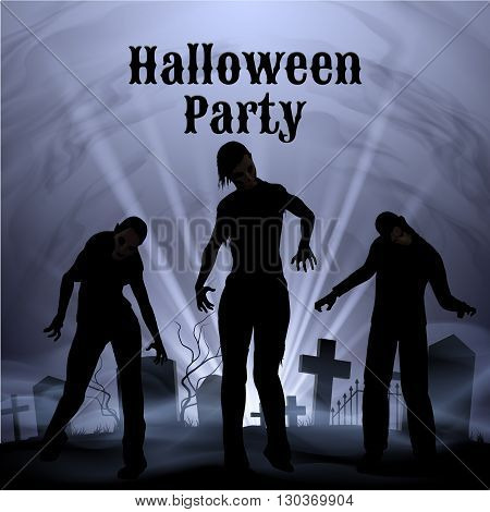 Spooky graveyard on the Halloween Night Halloween Party poster in black and white with zombie