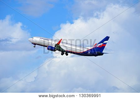 SAINT PETERSBURG RUSSIA - MAY 11 2016. Aeroflot Airlines Boeing 737 Next Gen airplane -registration number VQ-BVP. Airplane is flying in the sky after departure from Pulkovo International airport