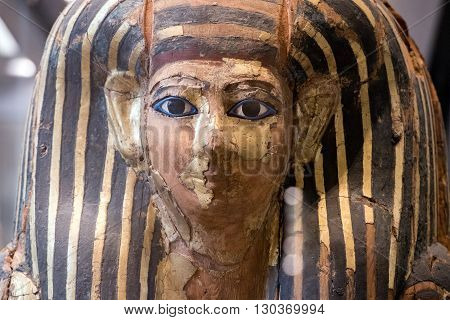egyptian wood painted ancient sarcophagus detail close up