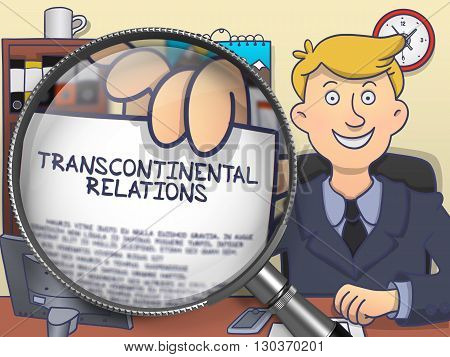 Officeman Shows Paper with Concept Transcontinental Relations. Closeup View through Magnifier. Multicolor Modern Line Illustration in Doodle Style.