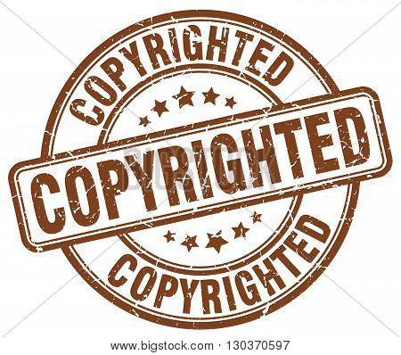 copyrighted brown grunge round vintage rubber stamp