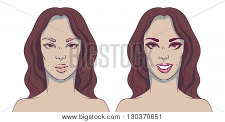 Portrait of a woman before and after with cosmetic defects. Plastic surgery and correction of deficiencies in appearance. Dentistry. Smile. Straight teeth.