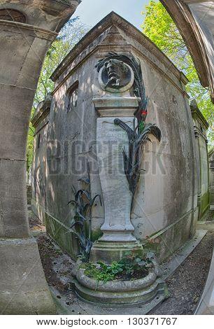 Paris, France - May 2, 2016:  Alphonse Daudet La Chevre De Monsieur Seguin Author Grave In Pere-lach