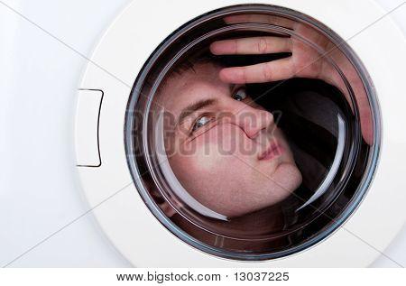 Bizarre Man Inside Washing Machine