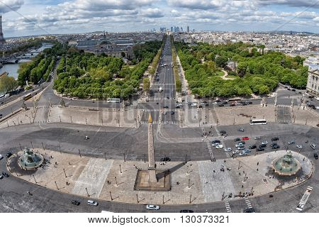 Paris Champs Elysee Aerial View