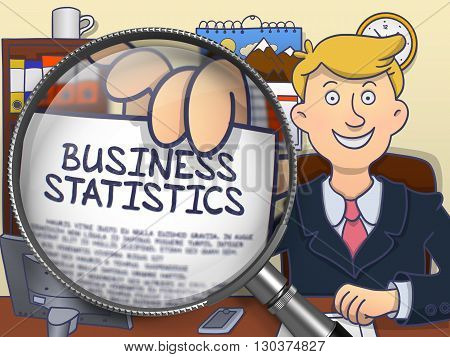 Business Statistics on Paper in Officeman's Hand to Illustrate a Business Concept. Closeup View through Lens. Colored Doodle Style Illustration.